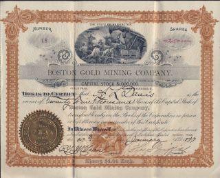 Boston Gold Mining Company Washington State 1897 Stock Certificate 18 photo