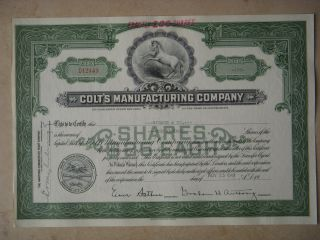 Colt ' S Manufacturing Company Old Stock Certificate D12443 For 100 Shares 1949 photo