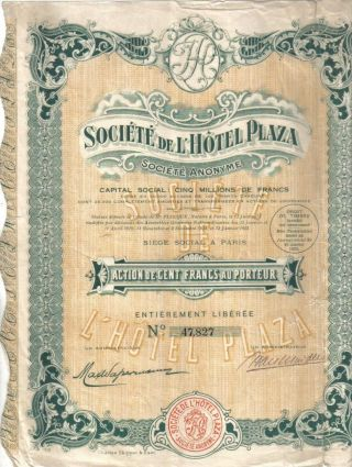 France 1925 Society Of Hotel Plaza 100 Francs Coupon Uncancelled Deco photo