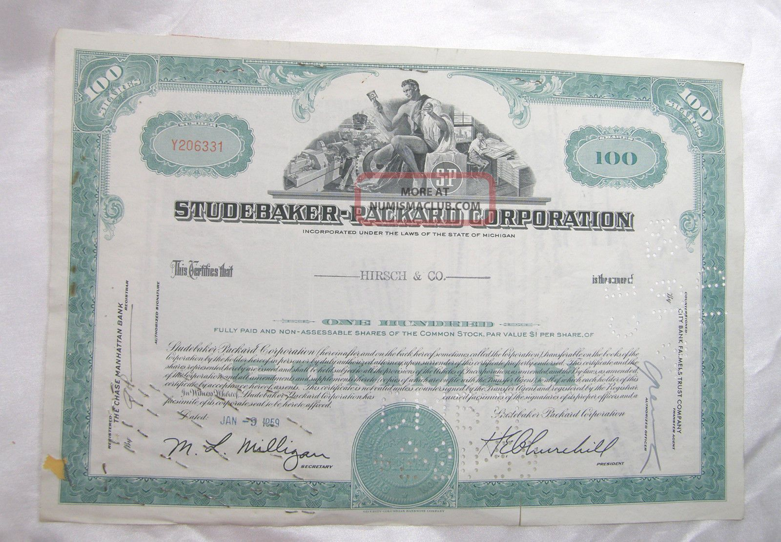 Stock Certificate Studebaker - Packard Corp 100 Common Shares Classic Auto Maker Transportation photo