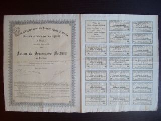 Switzerland 1895 Bond Certificate J.  Reuse Machine A Fabriquer Les Cigares.  B998 photo
