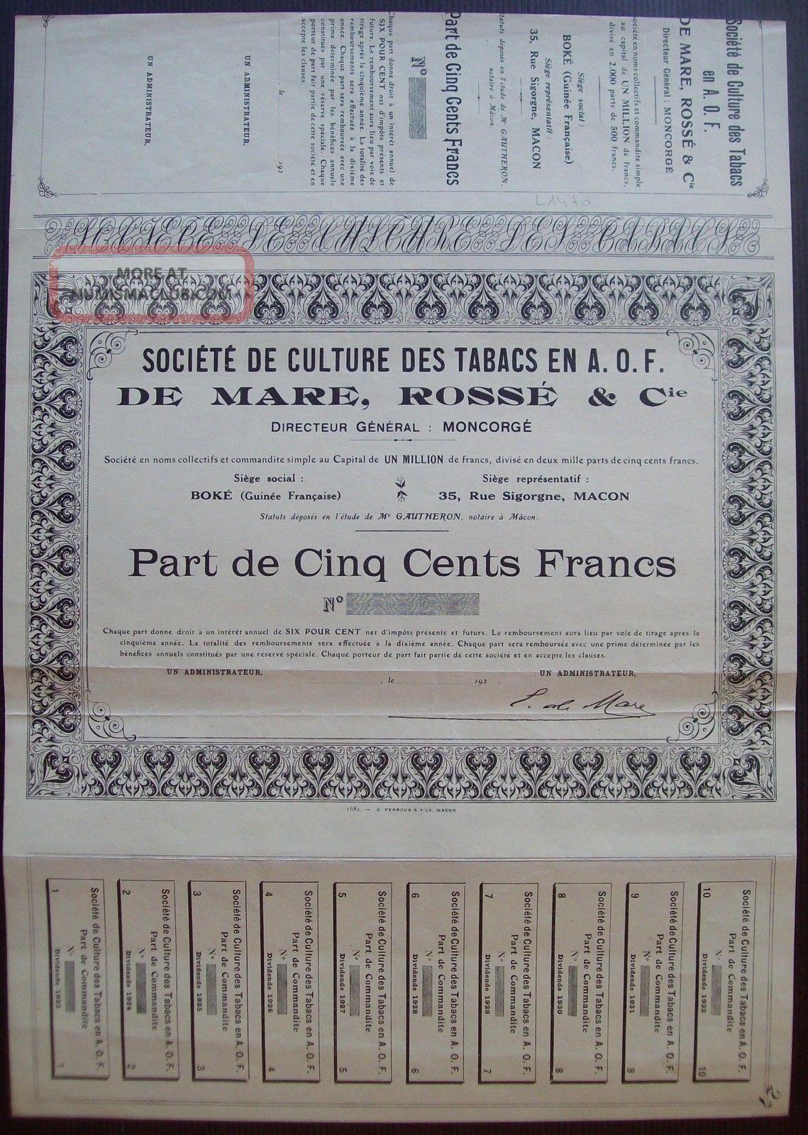 France 1923 Uncirculated Bond Tabacs De Mare Rosse Cie Macon. .  B994 World photo