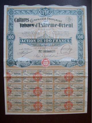 France 1927 Illustrated Bond Compagnie De Tabacs Cultures D ' Extreme Orient.  B993 photo