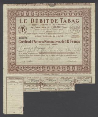 France 1928 Bond Certificate Le Debit De Tabac. . . .  B989 photo