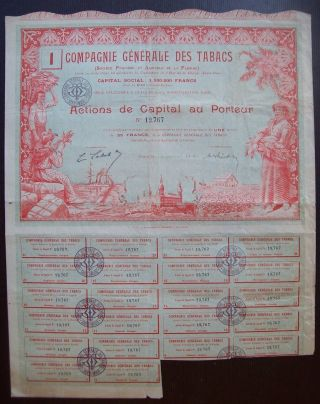 France 1907 Illustrated Bond Compagnie Generale Des Tabacs De Floride.  B988 photo