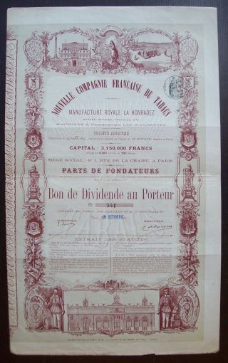 France 1876 Illustrated Bond Compagnie Francaise De Tabacs La Honradez.  B985 photo