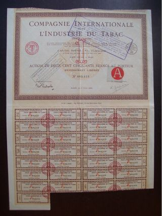 France 1924 Illustrated Bond Certificate Compagnie L ' Industrie Du Tabac.  B984 photo