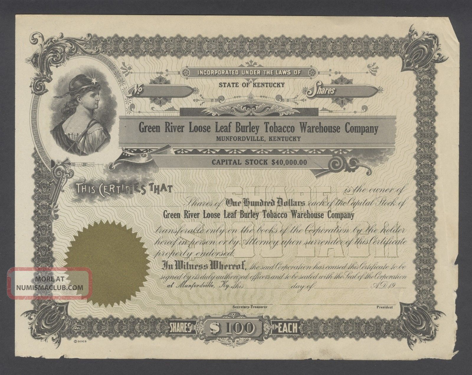 United States 1900s Tobacco Company Uncirculated Illustrated Bond. .  R3312 World photo