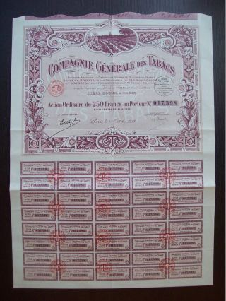 France 1927 Illustrated Bond Certificate Compagnie Generale Des Tabacs.  B983 photo