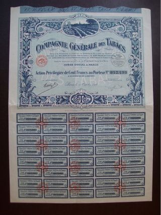 France 1927 Illustrated Bond Certificate Compagnie Generale Des Tabacs.  B982 photo