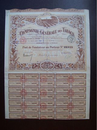 France 1919 Illustrated Bond Certificate Compagnie Generale Des Tabacs.  B981 photo