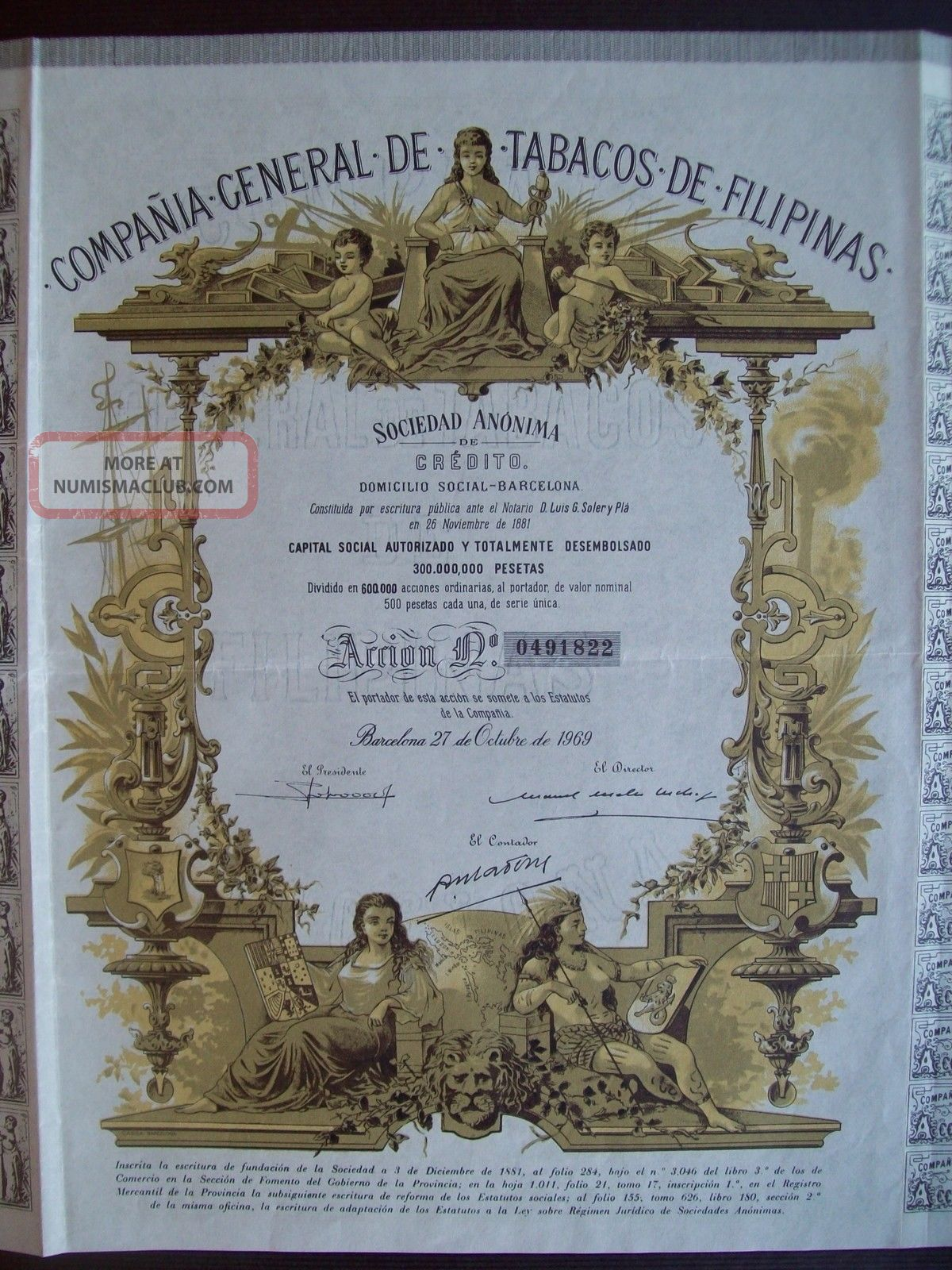 Spain 1969 Illustrated Bond With Coupons - Co Tabacos De Filipinas Tabac.  R3322 World photo