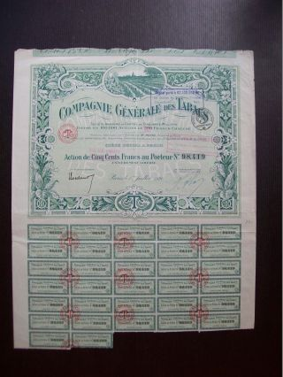 France 1920 Illustrated Bond Certificate Compagnie Generale Des Tabacs.  B979 photo