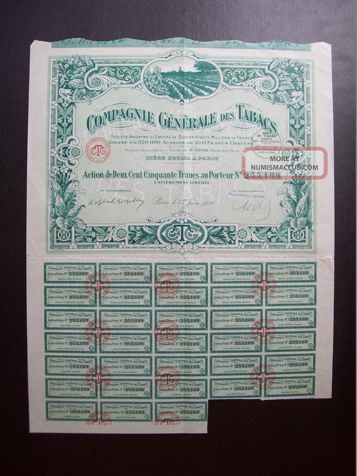France 1924 Illustrated Bond Certificate Compagnie Generale Des Tabacs.  B978 World photo