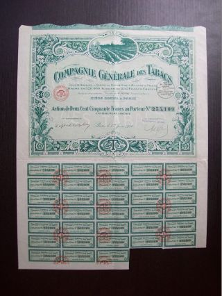 France 1924 Illustrated Bond Certificate Compagnie Generale Des Tabacs.  B978 photo