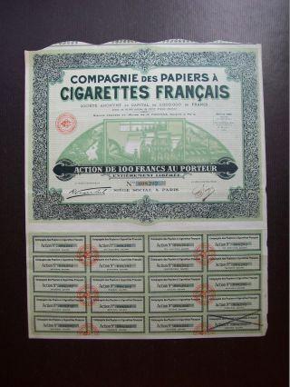 France 1930 Illustrated Bond Certificate Papiers A Cigarettes Francais.  B977 photo