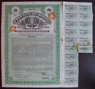 Poland Danzig 1927 Bond With Coupons - City Dantzig Tobacco Monopole.  R3302 photo