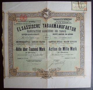 Germany 1908 Bond Certificate Elsassische Tabakmanufaktur Strasbourg.  B976 photo