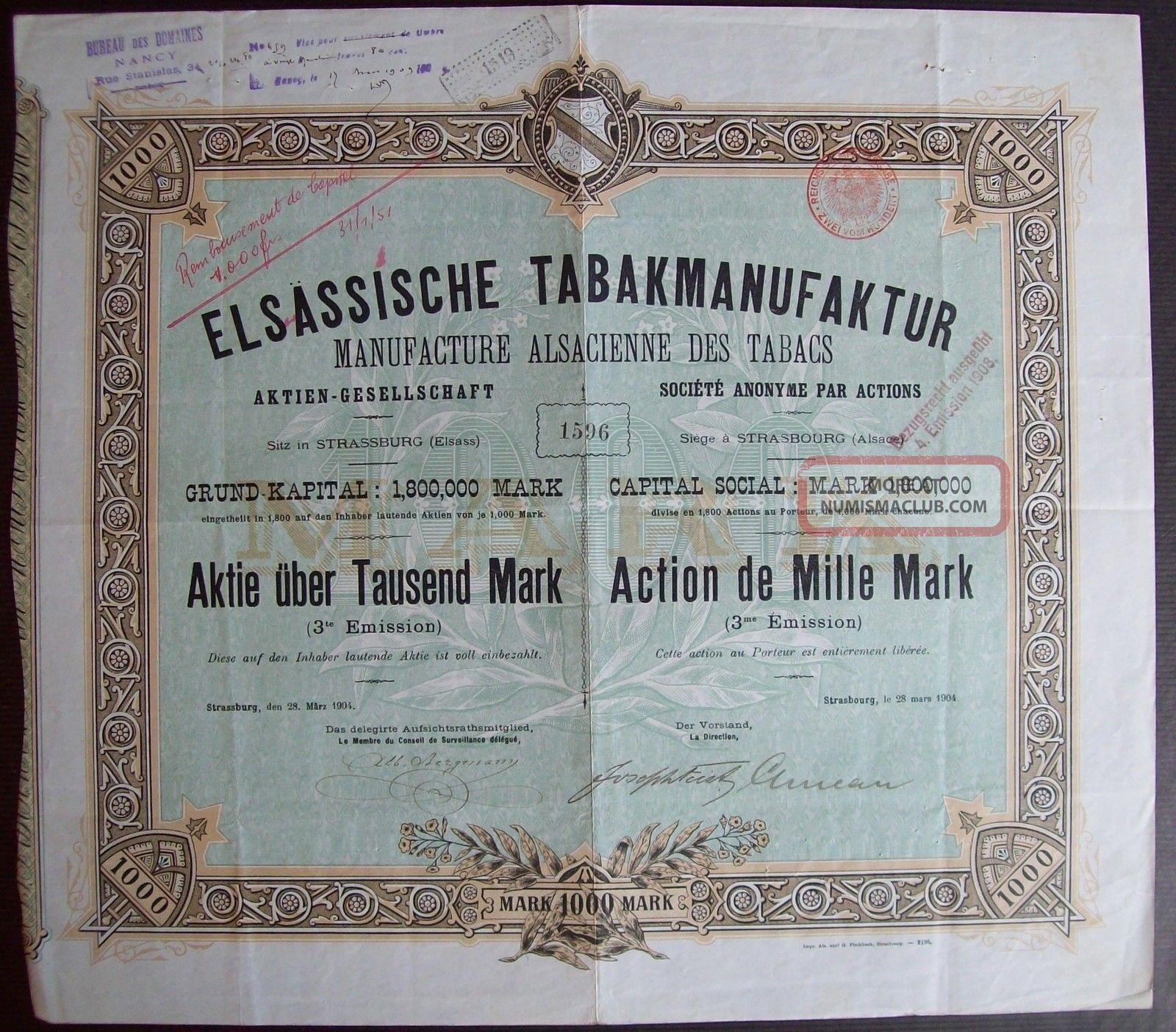 Germany 1904 Bond Certificate Elsassische Tabakmanufaktur Strasbourg.  B974 World photo