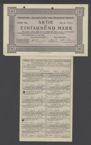 Germany 1923 Bond Certificate Tabak Cigarrenfabrik Lommes Kaldenkirchen.  B973 photo