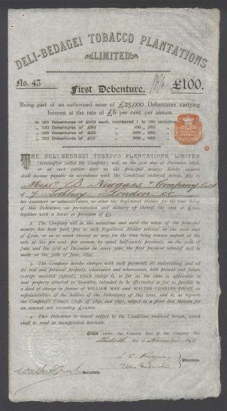 Indonesia 1891 Bond Certificate - Deli - Bedagei Tobacco Plantations Ltd.  B1005 photo