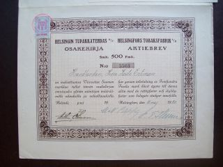 Finland 1920 Bond Certificate With Revenue Helsingfors Tobaksfabrik.  B1003 photo