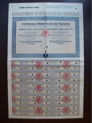 Portugal 1927 Bond Certificate Companhia Portuguesa De Tabacos Lisboa.  B1001 photo