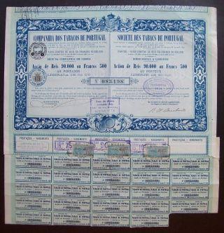 Portugal 1921 Bond Certificate Companhia Dos Tabacos De Portugal Lisboa.  B1000 photo