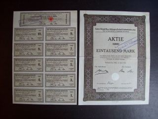 Germany 1922 Bond Certificate Gustav Stein Zigarettenfabrik Kaldenkirchen.  A9794 photo