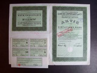 Germany 1922 Bond Certificate Zigarettenfabrik Louis Lypstadt Frankfurt.  A9793 photo