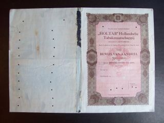 Netherlands 1922 Bond Uncirculated With Coupons Holtab Hollandsche Tabak.  A9792 photo