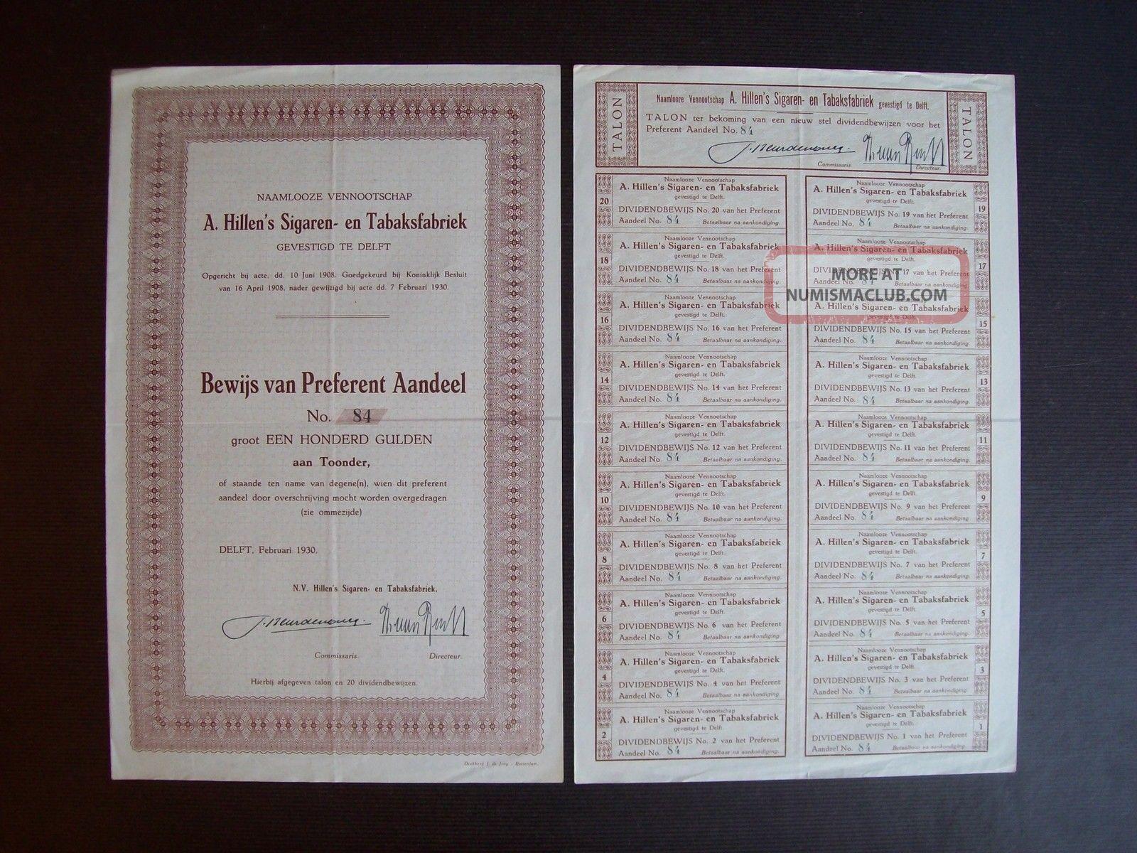 Netherlands 1930 Bond Certificate A.  Hillen ' S Sigaren Tabakfabriek Delft.  A9791 World photo