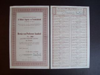 Netherlands 1930 Bond Certificate A.  Hillen ' S Sigaren Tabakfabriek Delft.  A9791 photo