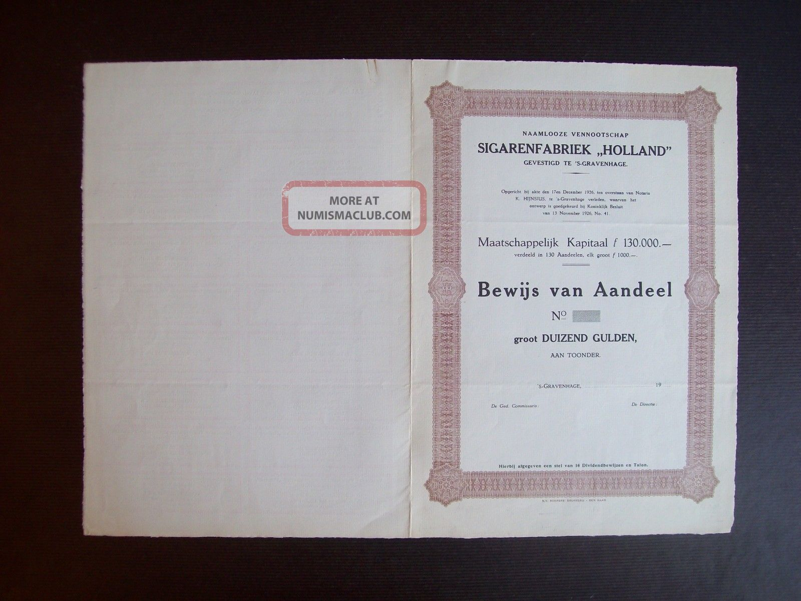 Netherlands 1926 Bond Uncirculated With Coupons Sigarenfabriek Holland.  A9789 World photo