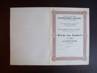 Netherlands 1926 Bond Uncirculated With Coupons Sigarenfabriek Holland.  A9789 photo