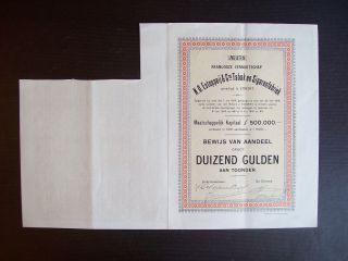 Netherlands 1918 Bond Certificate N.  O.  Estoppeij Tabak Sigaren Utrecht.  A9785 photo