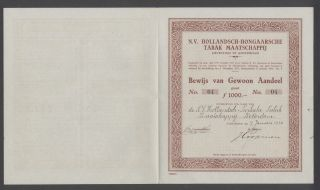 Netherlands 1932 Bond Certificate Hollandsch Hongaarsche Tabak Amsterdam.  A9784 photo
