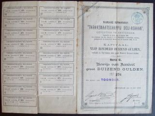 Netherlands 1888 Bond Certificate Tabac Maatschappij Deli Ahasam Coupons.  A9782 photo