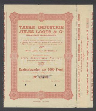 Belgium 1928 Bond - Tabak Jules Loots Herenthals - Uncirculated Specimen.  A9779 photo