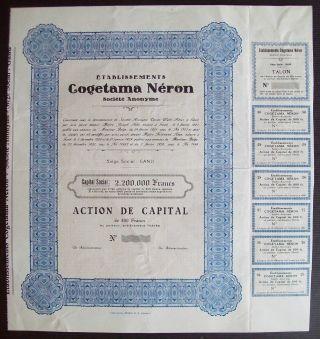 Belgium 1921 Bond - Cogetama Neron Tabacs Gand - With Coupons. .  A9775 photo