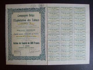 Belgium 1935 Bond - Cobexta Exploitation Des Tabacs - With Coupons. .  A9774 photo