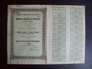 Belgium 1896 Bond - Machines A Fabriquer Les Cigarettes - With Coupons.  A9773 photo