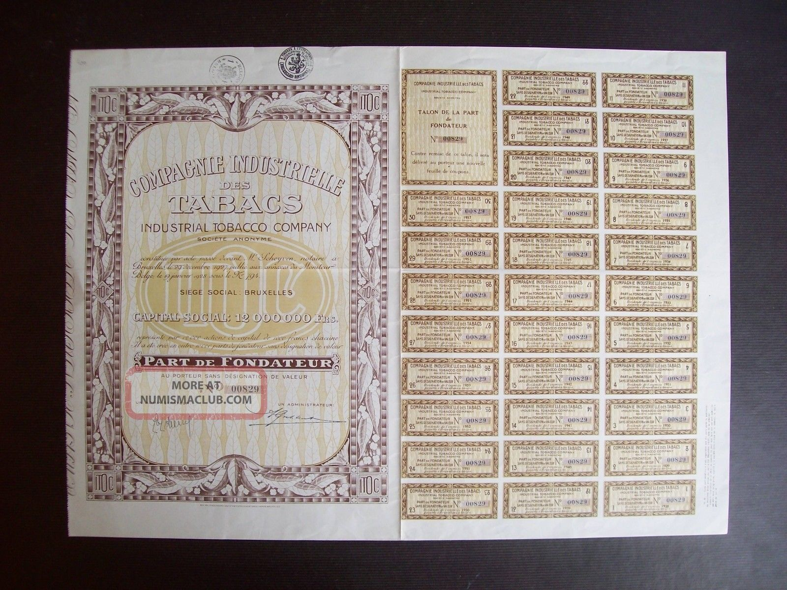 Belgium 1928 Bond - Industrial Tobacco Compagnie Bruxelles - With Coupons.  A9771 World photo