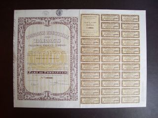 Belgium 1928 Bond - Industrial Tobacco Compagnie Bruxelles - With Coupons.  A9771 photo