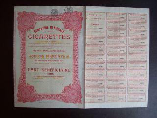 Belgium 1927 Bond - Compagnie Nationale De Cigarettes - With Coupons.  A9769 photo
