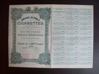 Belgium 1927 Bond - Compagnie Nationale De Cigarettes - With Coupons.  A9768 photo