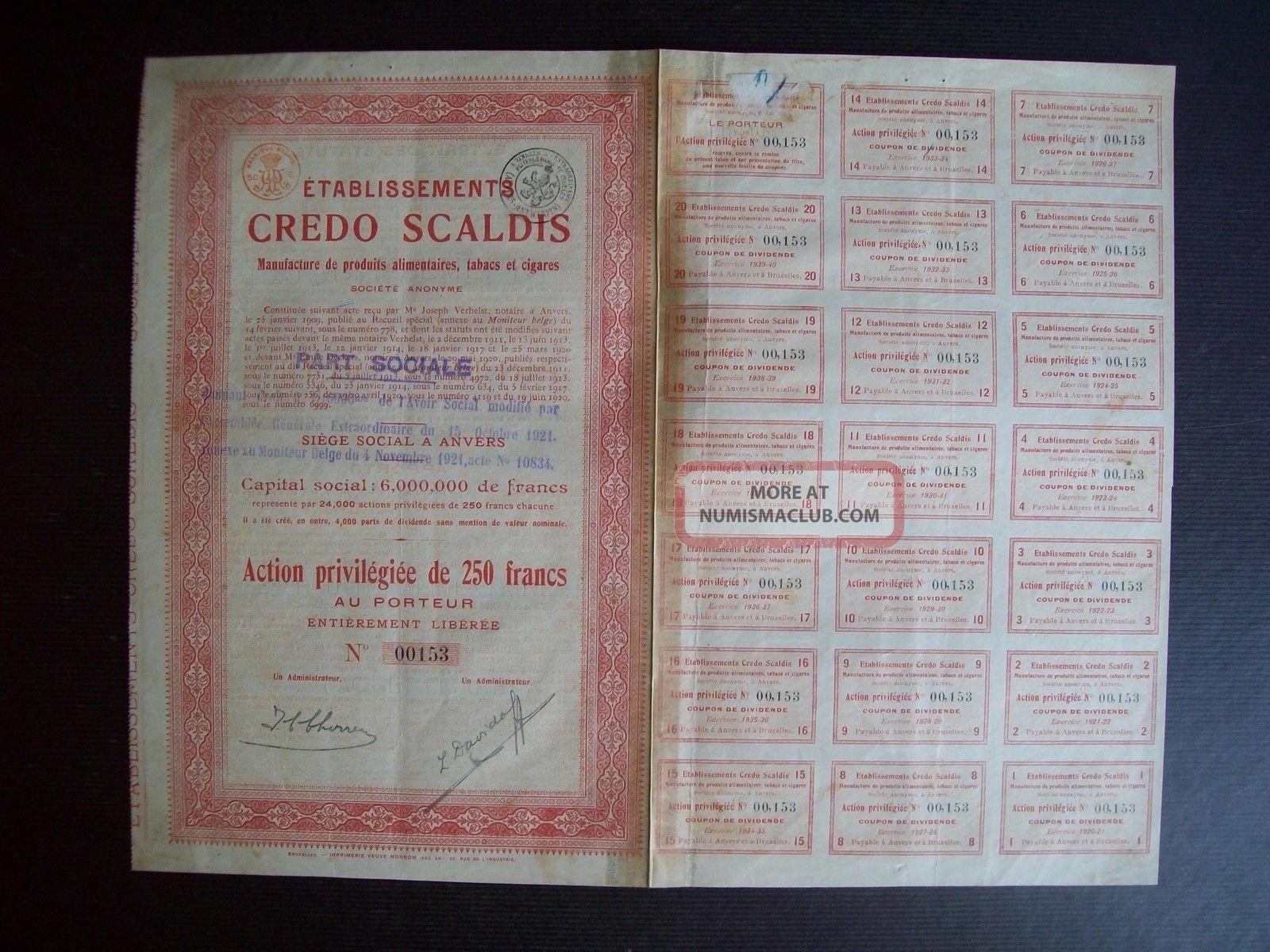 Belgium 1921 Bond - Credo Scaldis Tabacs Cigares Anvers - With Coupons.  A9767 World photo