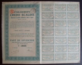 Belgium 1920 Bond - Credo Scaldis Tabacs Cigares Anvers - With Coupons.  A9766 photo