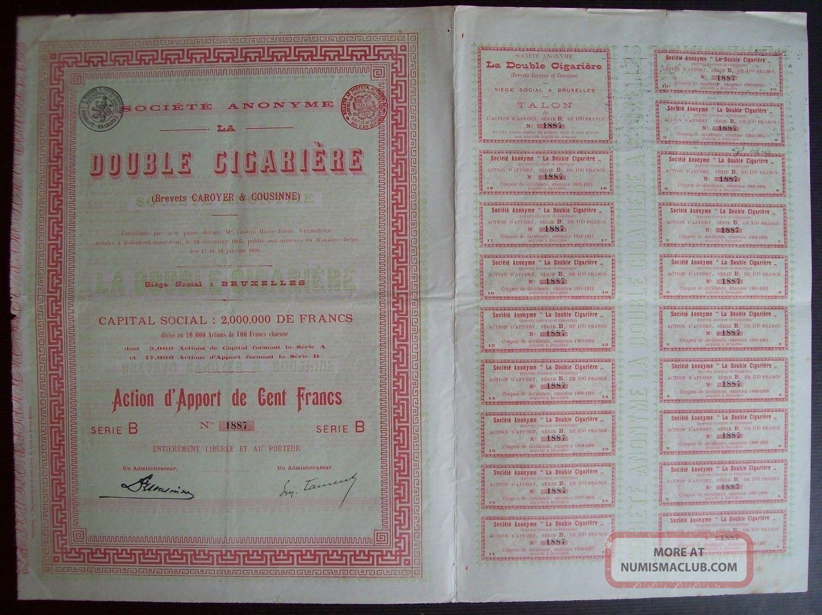 Belgium 1896 Bond - La Double Cigariere Bruxelles - With Coupons. .  A9765 World photo