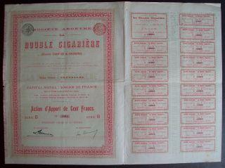 Belgium 1896 Bond - La Double Cigariere Bruxelles - With Coupons. .  A9765 photo